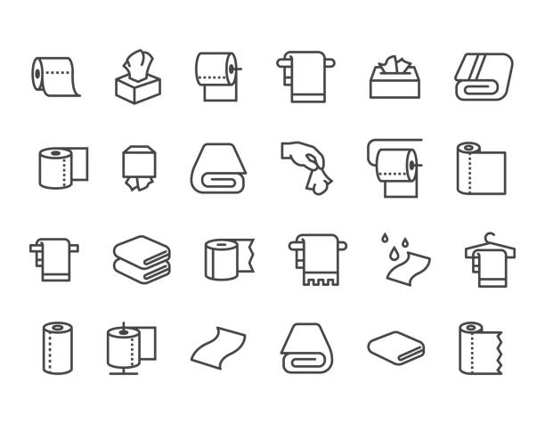Simple Set of Towels and Napkins Related Vector Line Icons. Contains such Icons as Wet Towel, Sanitary Dispenser, Toilet Paper and more. Editable Stroke. 48x48 Pixel Perfect. eps 10 toilet paper stock illustrations