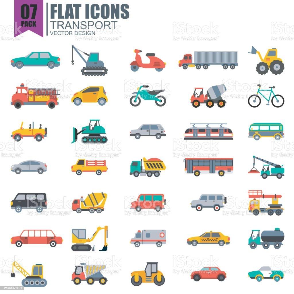 Simple Jeu Dicônes Plat Transport Vecteurs Libres De Droits