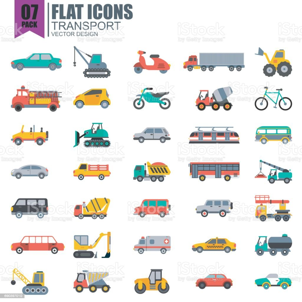 Simple set of transport flat icons vector art illustration