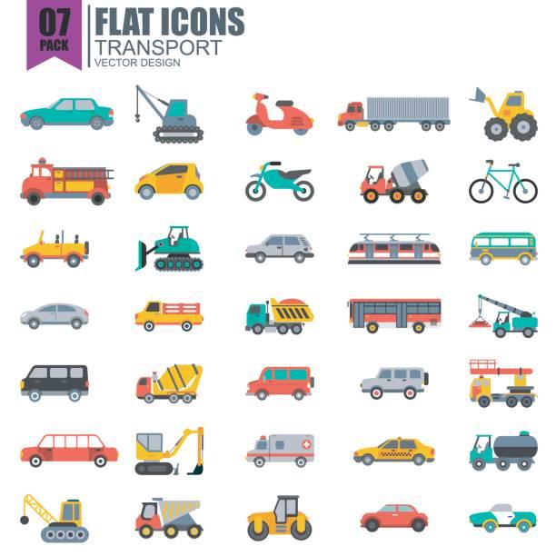 単純なトランス ポート フラット アイコンのセット - バス点のイラスト素材/クリップアート素材/マンガ素材/アイコン素材