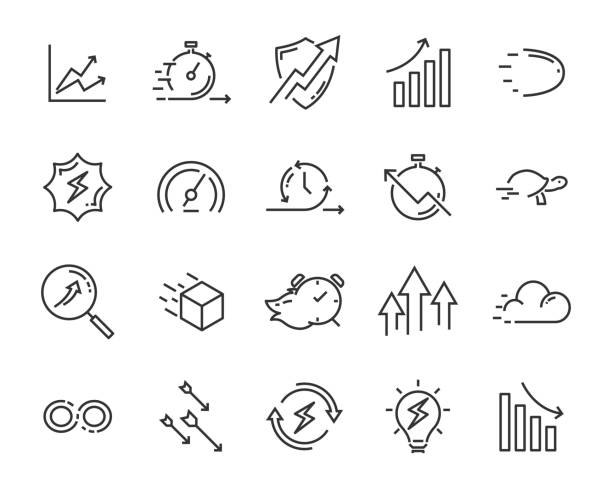 illustrazioni stock, clip art, cartoni animati e icone di tendenza di simple set of vector line icon, contain such lcon as speed, agile, boost, process, time and more - vitalità