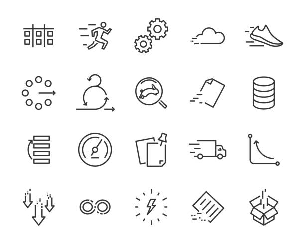 simple set of vector line icon, contain such lcon as speed, agile, boost, process, time and more vector art illustration