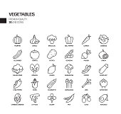 Simple Set of Vegetables Related Vector Line Icons. Outline Symbol Collection.