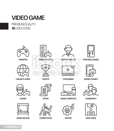 Simple Set of Video Game Related Vector Line Icons. Outline Symbol Collection