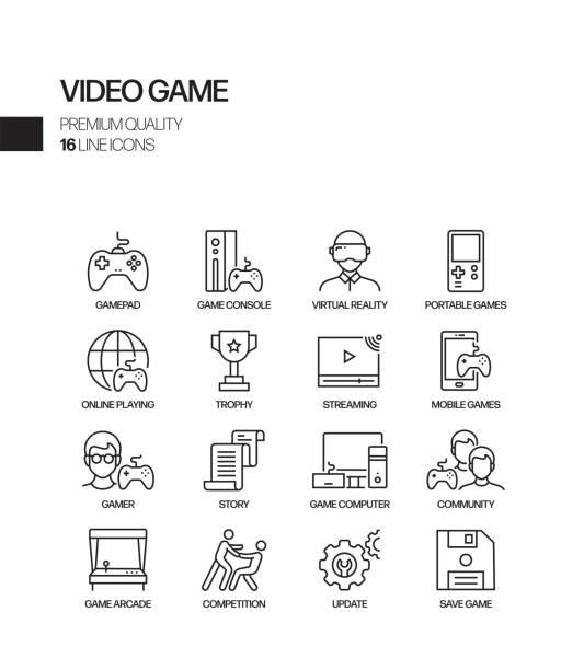 video oyunu i̇lgili vektör hattı simgeleri basit set. anahat sembol koleksiyonu - gaming stock illustrations