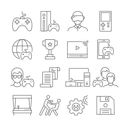 Simple Set of Video Game Related Vector Line Icons. Outline Symbol Collection. Editable Stroke