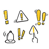 Simple Set of Warnings Related Vector Line Icons in doodle hand drawn style. isolated