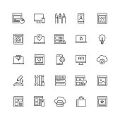 Simple Set of Web Design and Development Related Vector Line Icons