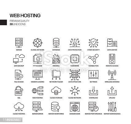 Simple Set of Web Hosting Related Vector Line Icons. Outline Symbol Collection
