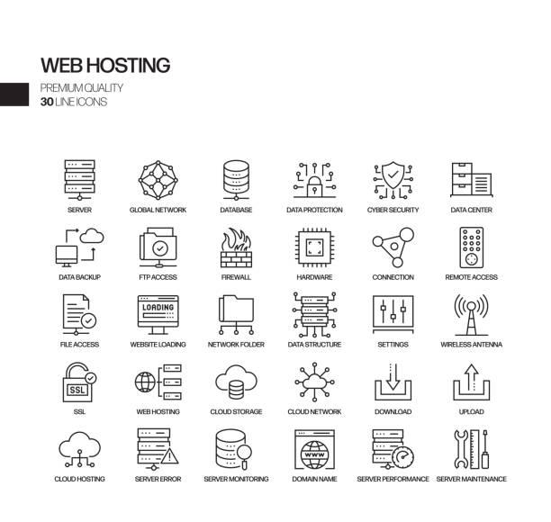 stockillustraties, clipart, cartoons en iconen met eenvoudige set van web hosting gerelateerde vector lijn iconen. outline symbol-collectie - netwerkserver