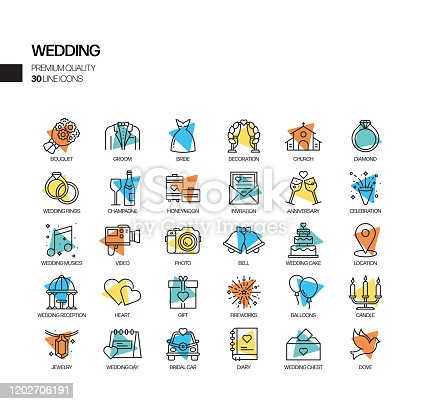 Simple Set of Wedding Related Spotlight Vector Line Icons. Outline Symbol Collection