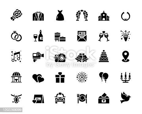 Simple Set of Wedding Related Vector Icons. Symbol Collection