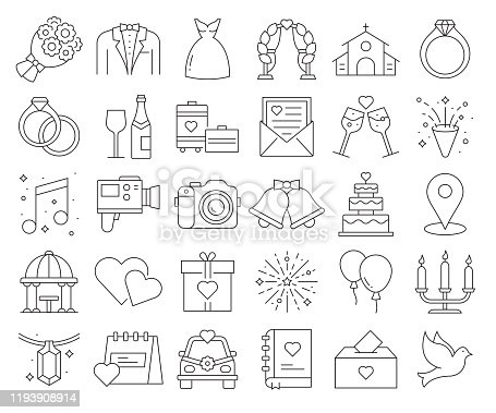 Simple Set of Wedding Related Vector Line Icons. Outline Symbol Collection. Editable Stroke