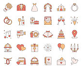 Simple Set of Wedding Related Vector Line Icons. Outline Symbol Collection