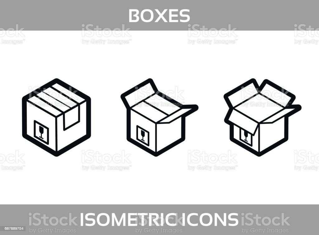 6525a5bf1cc Simple Set of Isometric packaging boxes Vector Line art Icons. Black and  white line art isometric icons with thick strokes. Cardboard boxes -  Illustration .