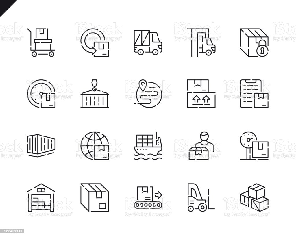Simple Set Package Delivery Line Icons for Website and Mobile Apps. - Grafika wektorowa royalty-free (Biznes)