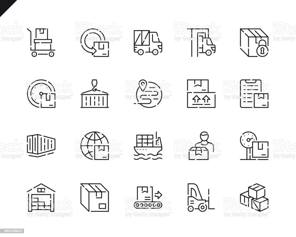 Proste ikony linii dostarczania pakietów dla witryny i aplikacji mobilnych. - Grafika wektorowa royalty-free (Symbol)