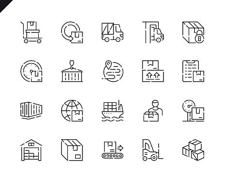 Simple Set Package Delivery Line Icons For Website And Mobile Apps - Stockowe grafiki wektorowe i więcej obrazów Biznes