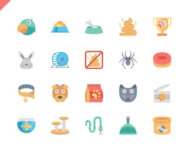 ilustrações de stock, clip art, desenhos animados e ícones de simple set pen and animal flat icons for website and mobile apps. - lata comida gato