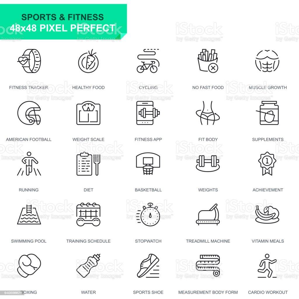 Esporte de conjunto simples e ícones de linha Fitness - ilustração de arte em vetor