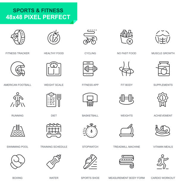 Simple Set Sport and Fitness Line Icons Simple Set Sport and Fitness Line Icons for Website and Mobile Apps. Contains such Icons as Fit Body, Swimming, Fitness App, Supplements. 48x48. Editable Stroke. Vector illustration. weight loss stock illustrations