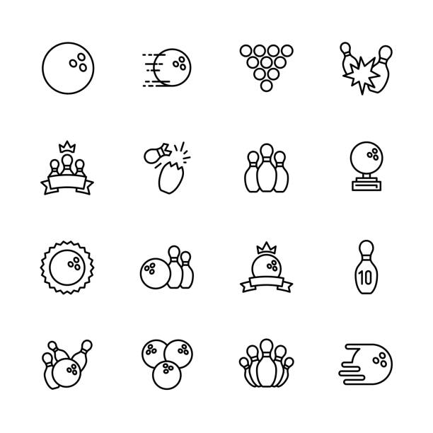 simple set symbols bowling, kegling and billiards outline icon. contains such icon bowling ball, skittles, bowls, ninepins, strike, win, championship, victory and other - piłka stock illustrations