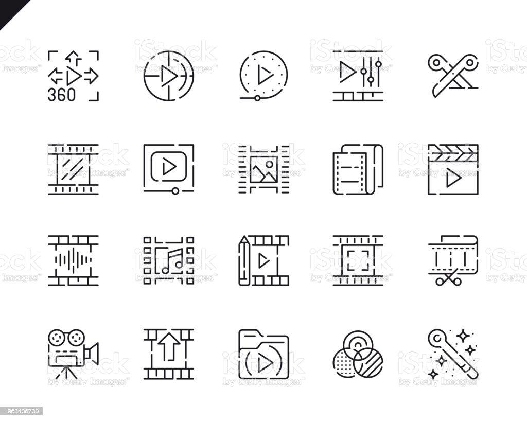 Simple Set Video Editing Line Icons for Website and Mobile Apps. - Grafika wektorowa royalty-free (360-stopniowy widok)