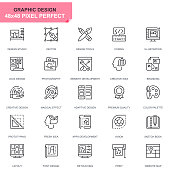 Simple Set Web and Graphic Design Line Icons