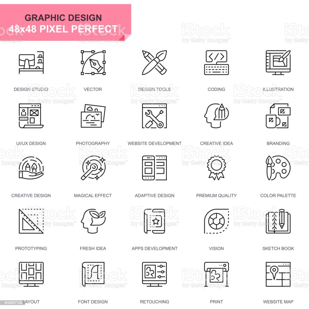 Simple Set Web and Graphic Design Line Icons vector art illustration