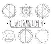 Geometric Shapes Hand Drawn Sketch Stock Illustration