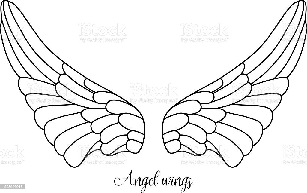 Simple shape of angel wings black line on white background royalty free simple shape