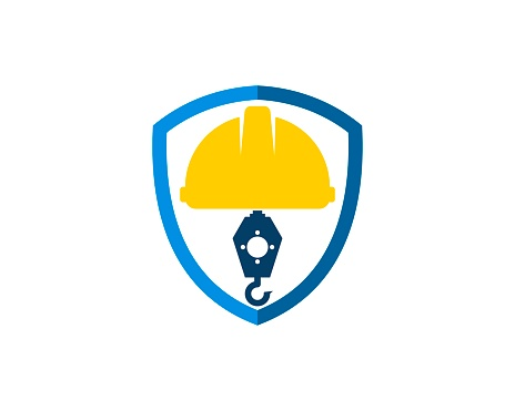 Simple shield with safety helmet and crane inside