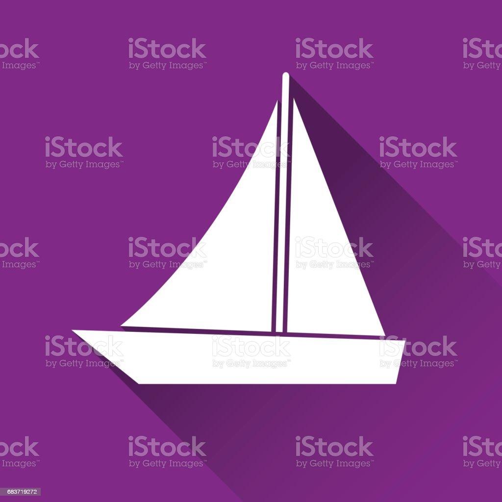 Basit Gemi Simgesi Tekne Sembolü Modern Düz Stil Ikonu Vektör çizim