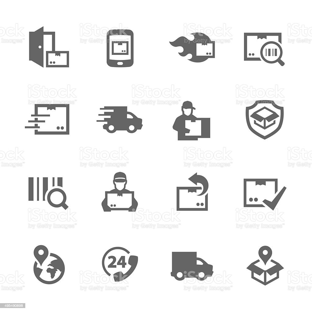 Simple Shipping and Delivery icons vector art illustration