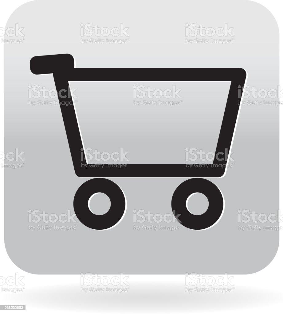 Simple Shopping cart icon vector art illustration