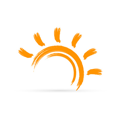 Simple sign. Color sun icon on white background. Vector illustration.