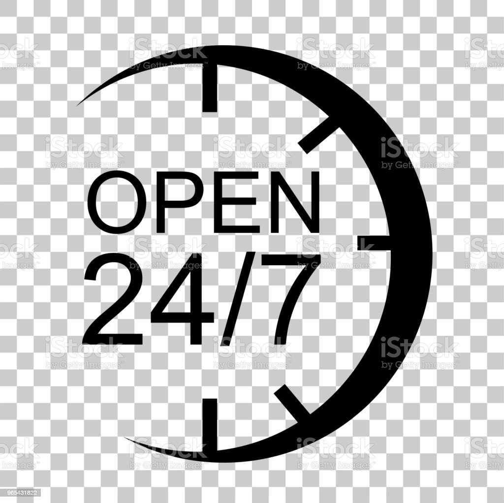 simple Sign Open 24 Hour 7 day a week at transparent effect background royalty-free simple sign open 24 hour 7 day a week at transparent effect background stock vector art & more images of accessibility