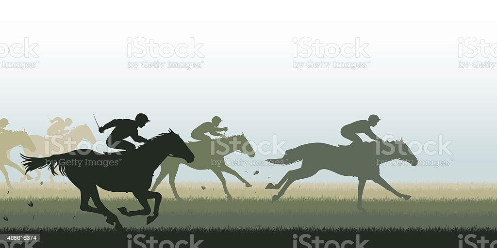 Simple silhouette horse race graphic vector art illustration