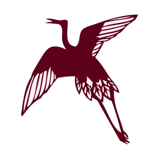 Simple silhouette material of crane vector art illustration