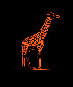 simple silhouette outline giraffe animal,
