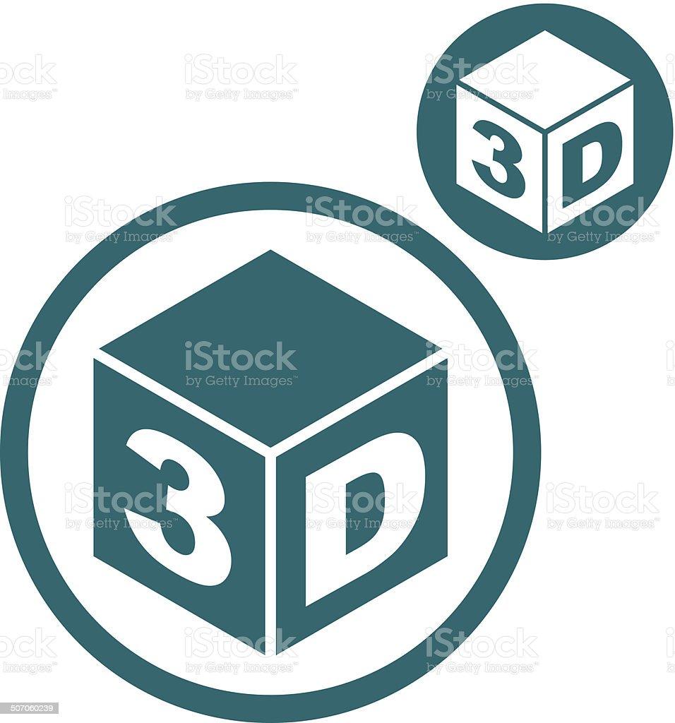 Une simple couleur 3D icône isolé sur fond blanc - Illustration vectorielle