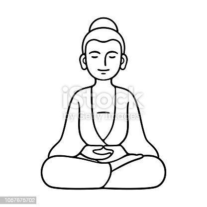 Simple and minimal Buddha statue sitting in meditation, Zen Buddhist tradition. Black and white line art drawing, isolated vector illustration.
