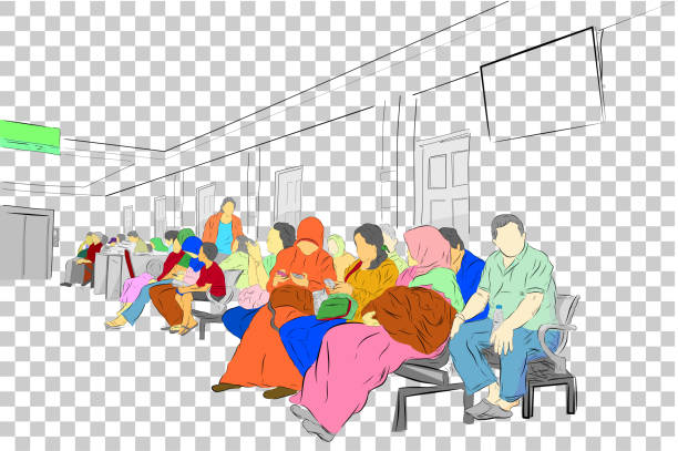 simple sketch, colorful people at waiting room at hospital at transparent effect background - old man sitting chair drawing stock illustrations, clip art, cartoons, & icons