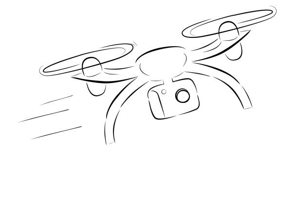 Royalty Free Flying Drone With Camera Drawing Clip Art Vector