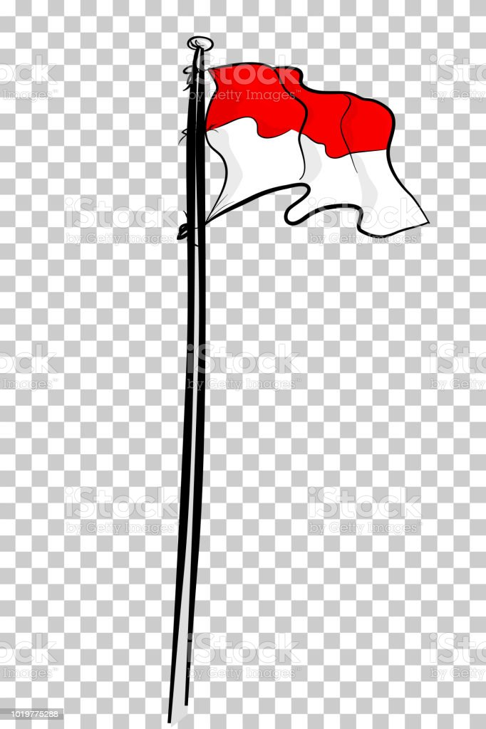 simple sketch indonesia flag at pole, at transparent effect background vector art illustration