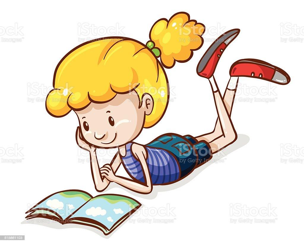 Vetores De Simples Desenho De Uma Menina Lendo E Mais Imagens De