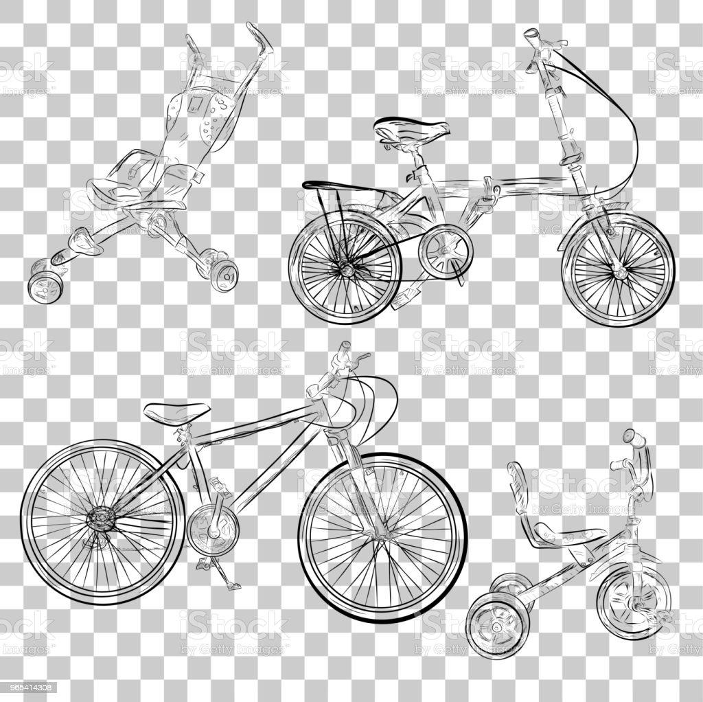 simple sketch of baby stroller tricycle and folding bike at transparent effect background simple sketch of baby stroller tricycle and folding bike at transparent effect background - stockowe grafiki wektorowe i więcej obrazów bazgroły - rysunek royalty-free