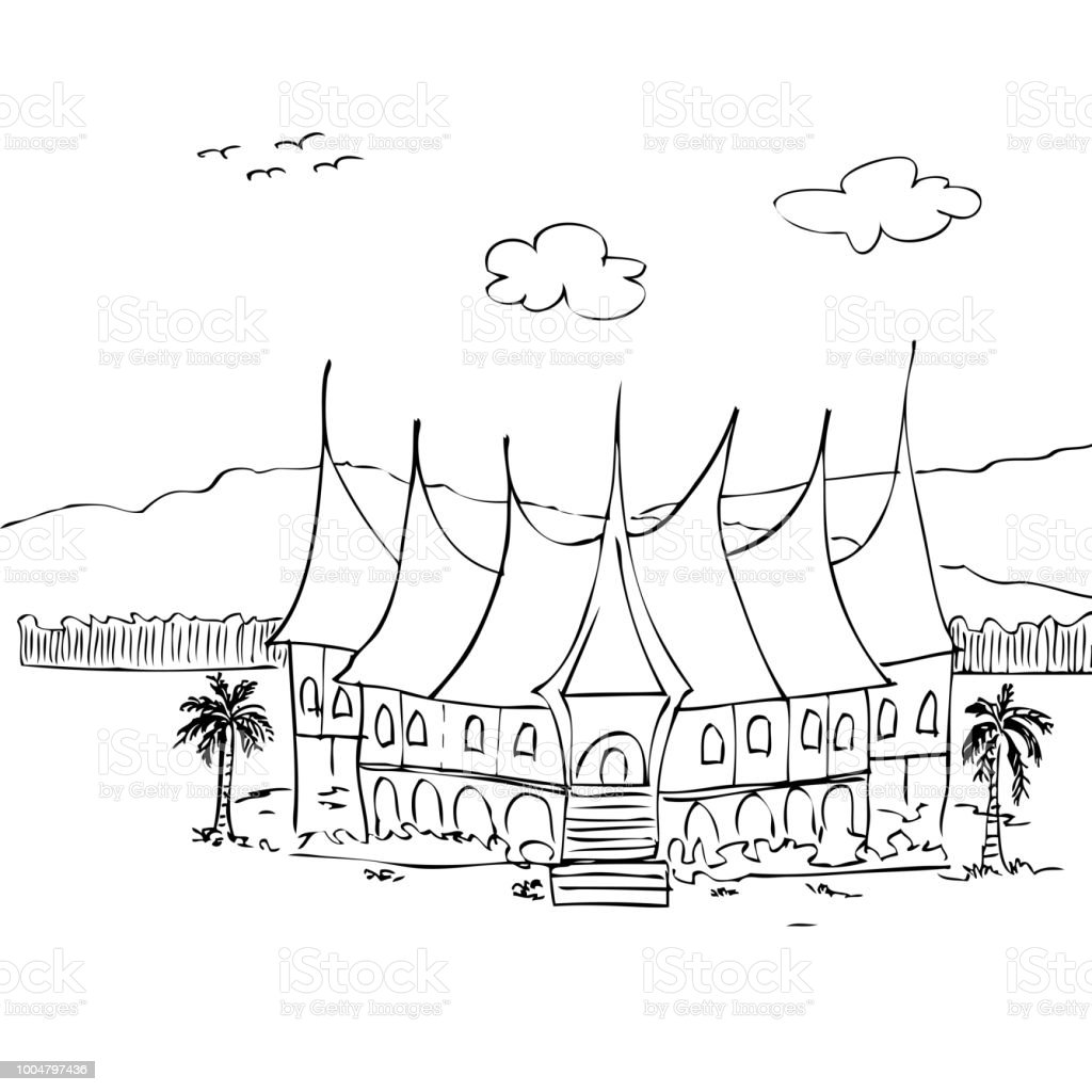 simple sketch of gadang house west sumatera traditional building Indonesian People simple sketch of gadang house west sumatera traditional building indonesia illustration