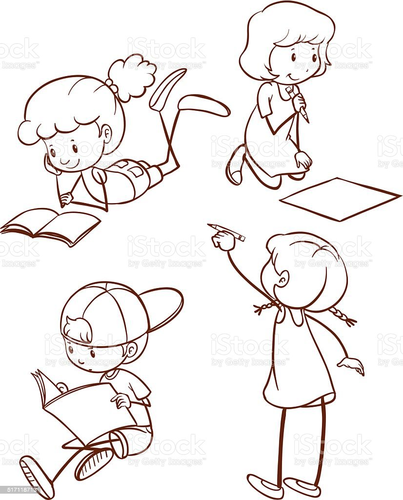 Simple sketch of students reading and writing vector art illustration