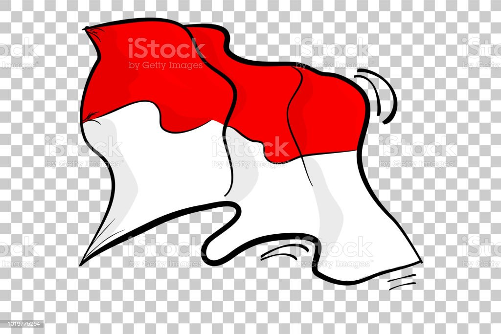 simple sketch waving indonesia flag, at transparent effect background vector art illustration